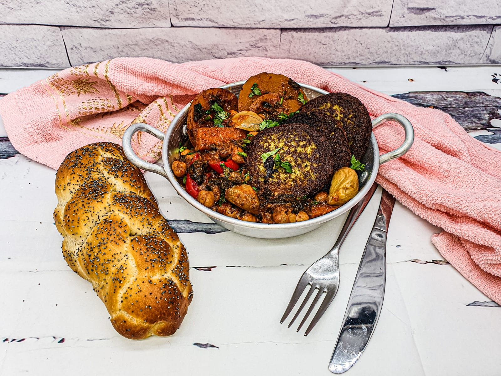 "Vegan Recipes Cacao-Shamaness Vegan Moroccan ""fish"" Patties Stew with a fresh baked vegan Challah Bread"