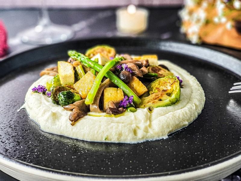 Vegan Recipes Cacao-Shamaness Vegan Tofu and Winter Veg with Vegan Cauliflower Puree and Vegan White Wine Sauce