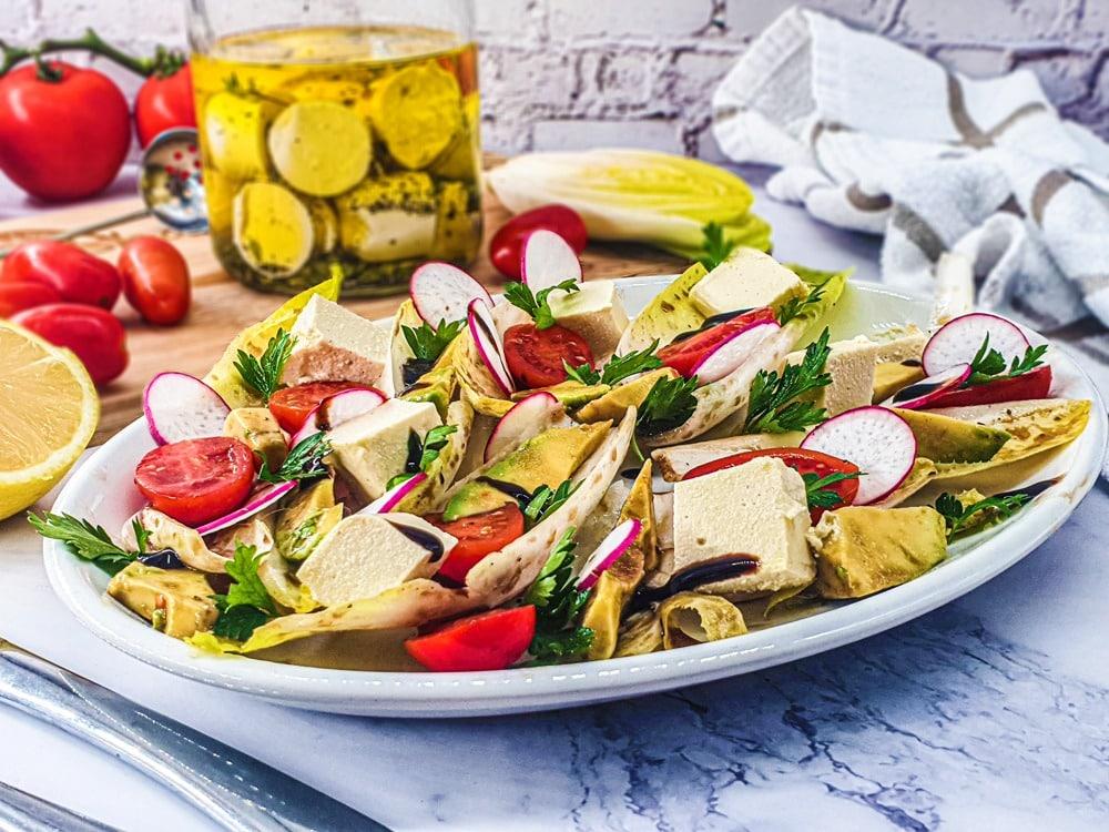 Vegan Recipes Cacao-Shamaness Vegan Mediterranean Endive Salad with Vegan Cashew Feta Cheese