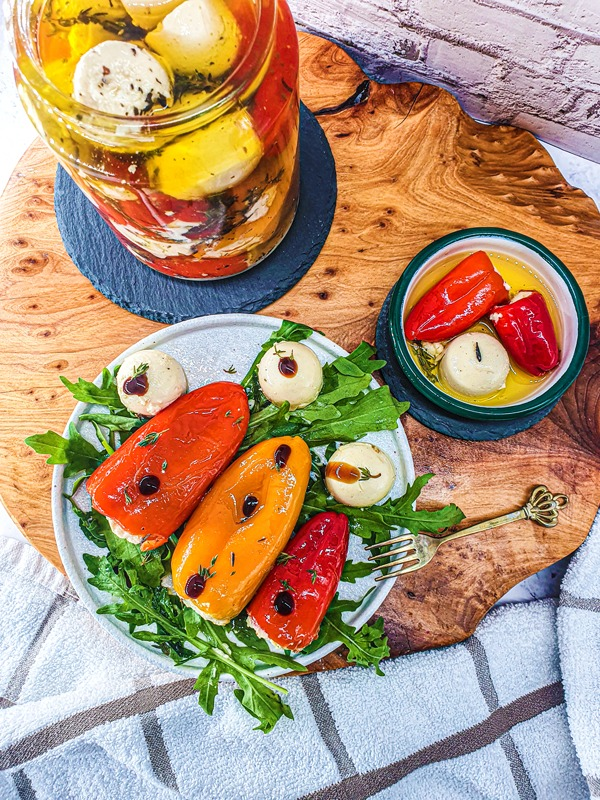 Vegan Recipes Cacao-Shamaness Vegan Mini Sweet Peppers Confit Stuffed With Vegan Feta