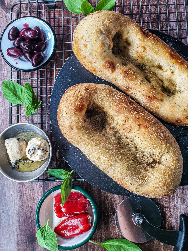 Vegan Recipes Cacao-Shamaness Vegan Sourdough Focaccia with Olive Oil and Herbs.