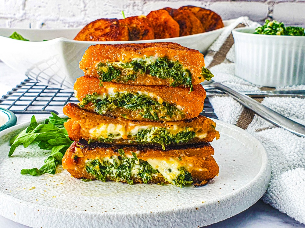 Vegan Recipes Cacao-Shamaness Vegan Sweet-Potato Pancakes Stuffed with Kale & Cheese