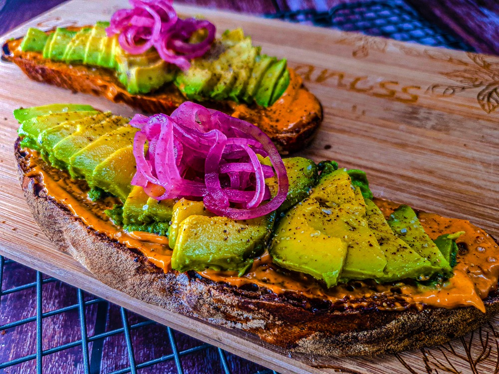 Vegan Recipes Cacao-Shamaness Avocado on a Toast with Chipotle Mayo and Red Pickled Onion