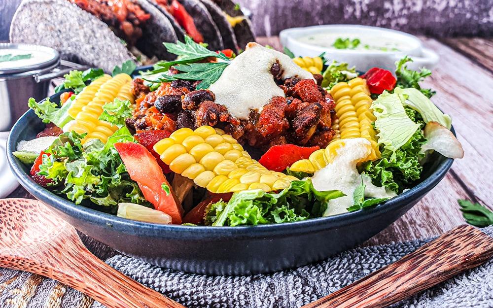 Vegan Recipes Cacao-Shamaness Vegan Kale Taco Salad with Vegan Cashew Sour Cream
