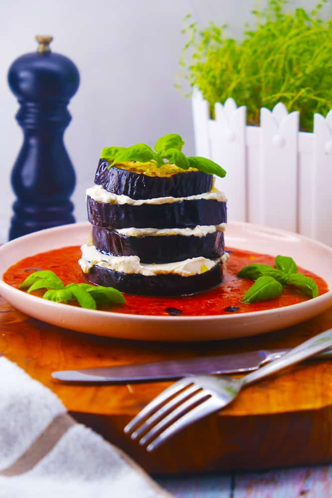 Vegan Recipes Cacao-Shamaness Vegan Eggplant Ricotta Stacks