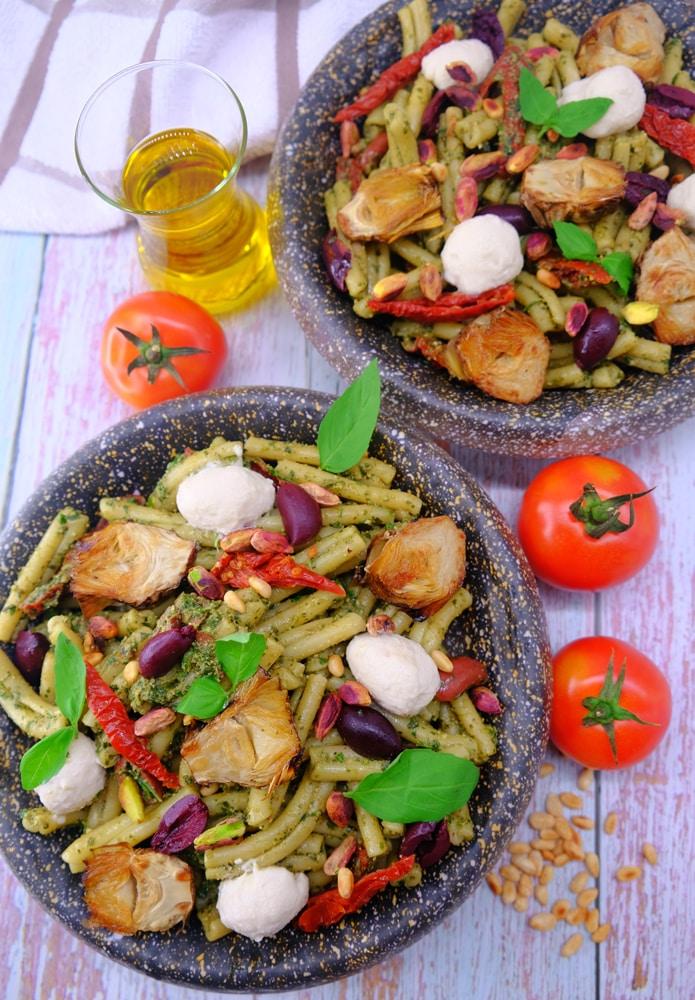 Vegan Recipes Cacao-Shamaness Vegan Pesto Pasta Salad with Homemade Vegan Mozzarella Cheese
